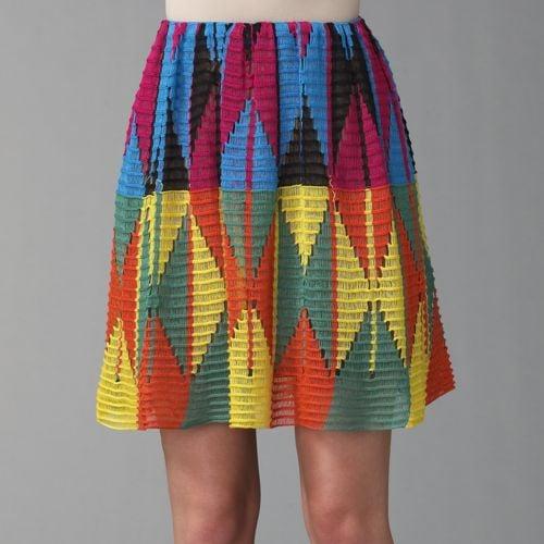 Etro Diamond Weave Patchwork Skirt