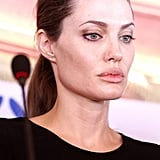 Angelina got emotional during the press conference.