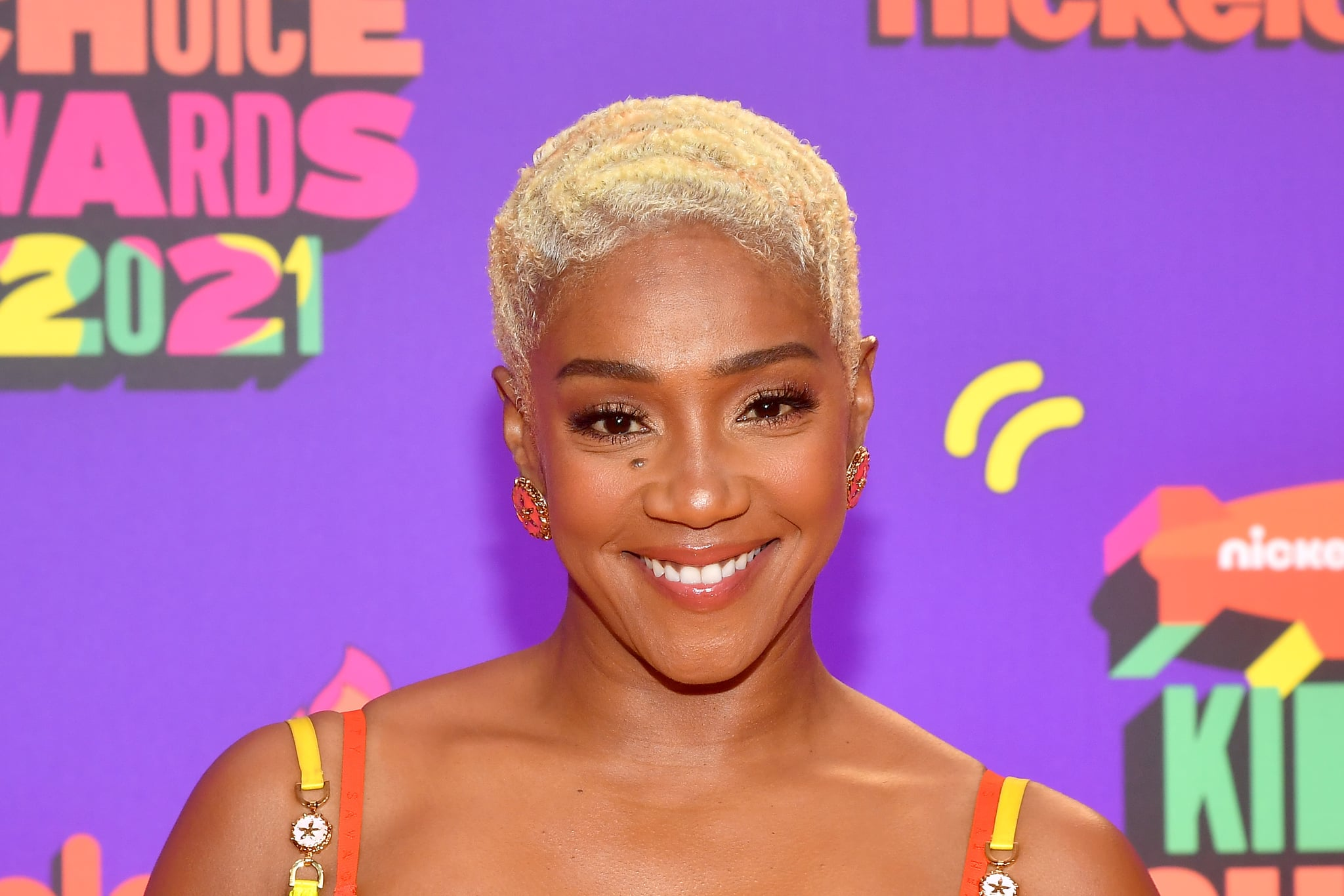 SANTA MONICA, CALIFORNIA - MARCH 13: In this image released on March 13, Tiffany Haddish attends Nickelodeon's Kids' Choice Awards at Barker Hangar on March 13, 2021 in Santa Monica, California. (Photo by Amy Sussman/KCA2021/Getty Images for Nickelodeon)