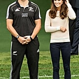Kate wore gray sneakers when she attended a rugby tournament during her and William's tour of Australia and New Zealand in April 2014.