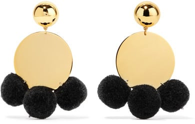 These Elizabeth and James Stevie pom-pom-embellished gold-plated earrings ($125) marry whimsical pom-poms and cool metal for an unexpected statement.