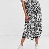 ASOS Design Maternity Mock Wrap Skirt in Mono Leopard