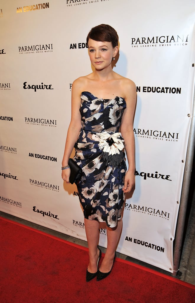 Carey Mulligan blossomed in a strapless floral Lavin number at the LA premiere of An Education.