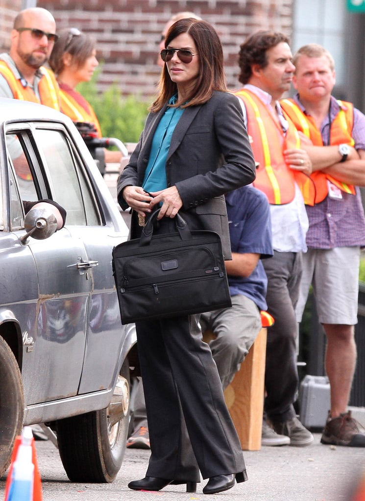 Sandra Bullock carried a briefcase on the set of The Heat in Boston.
