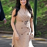 Meghan Markle Wearing an Evil Eye Bracelet and Banana Republic Dress