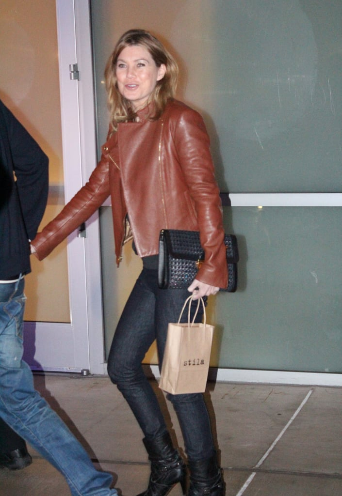 Ellen Pompeo Married Black And Brown In A Chestnut Leather
