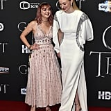 Sophie and Maisie couldn't contain their laughter as they walk hand in hand at the Belfast, Ireland, premiere of Game of Thrones in April 2019.