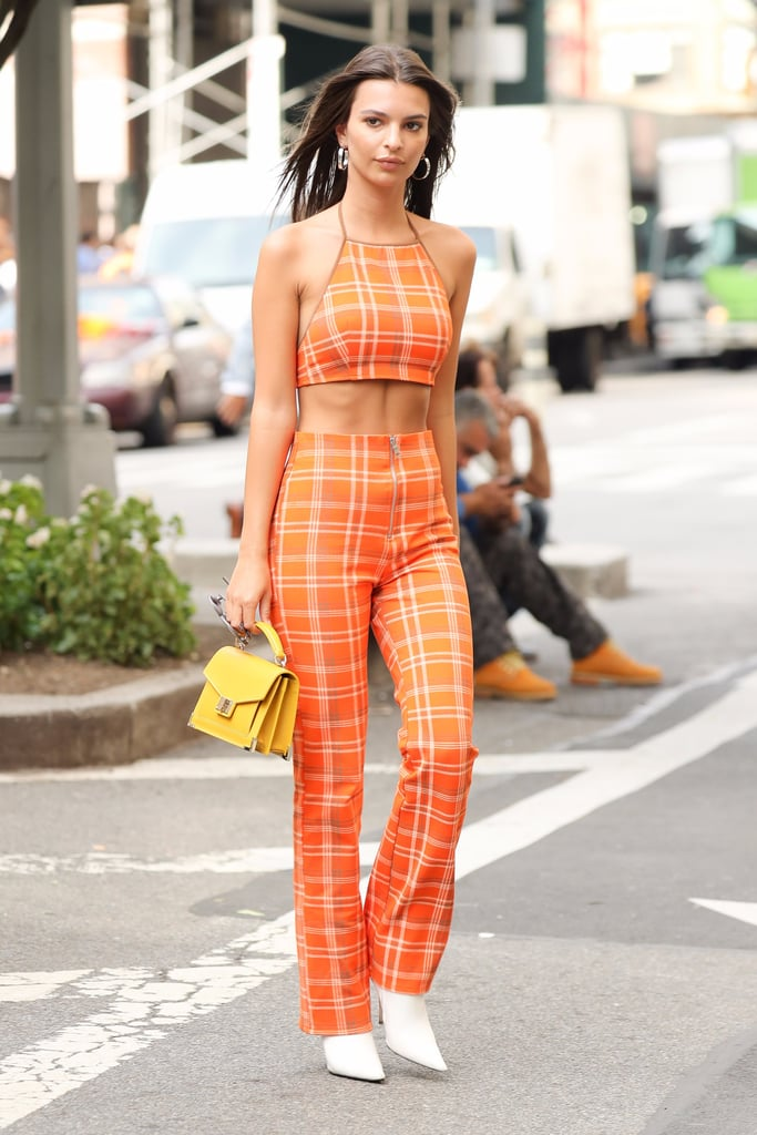 Emily Ratajkowski's Orange Plaid Outfit
