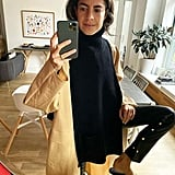 A Black Oversize Turtleneck Sweater and Black Leather Pants