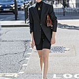 We love the simplicity of this all-black look, especially since the biker shorts add just the right outfit intrigue.