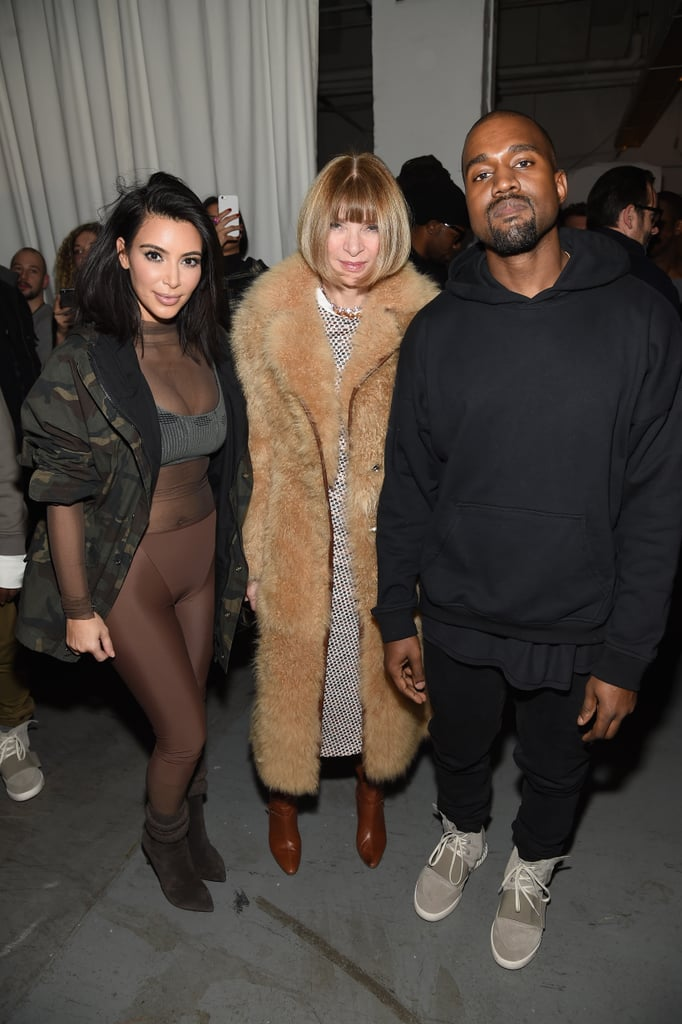 Kanye with Kim and Anna Wintour