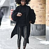 Team Lace-Up Leggings With a Textured Black Coat