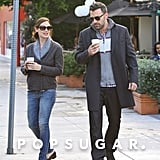 Jennifer Garner and Ben Affleck stopped for hot drinks.