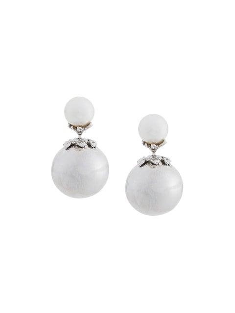 Kasun London Orb and Pearl Stud Earrings