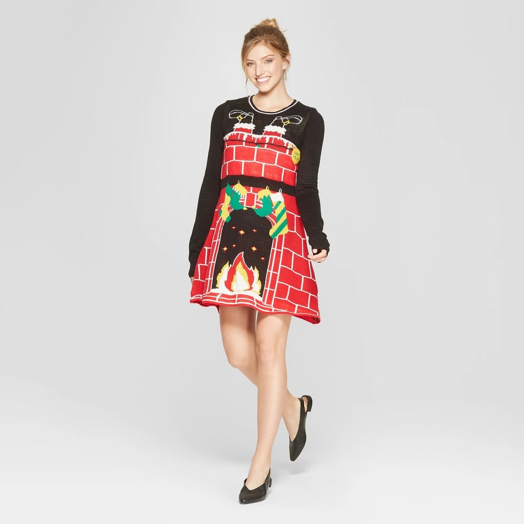 Women Christmas Sweater Dress.Women S Ugly Christmas Cosy Fireplace Dress Ugly Christmas