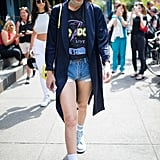 Gigi Stepped Out in  Denim Cutoffs and a Tee, Which She Paired With a Duster and Choker