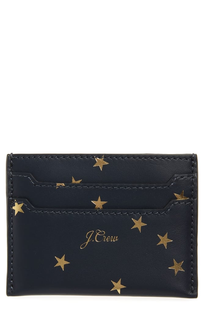 J.Crew Foil Print Star Leather Slip Card Case