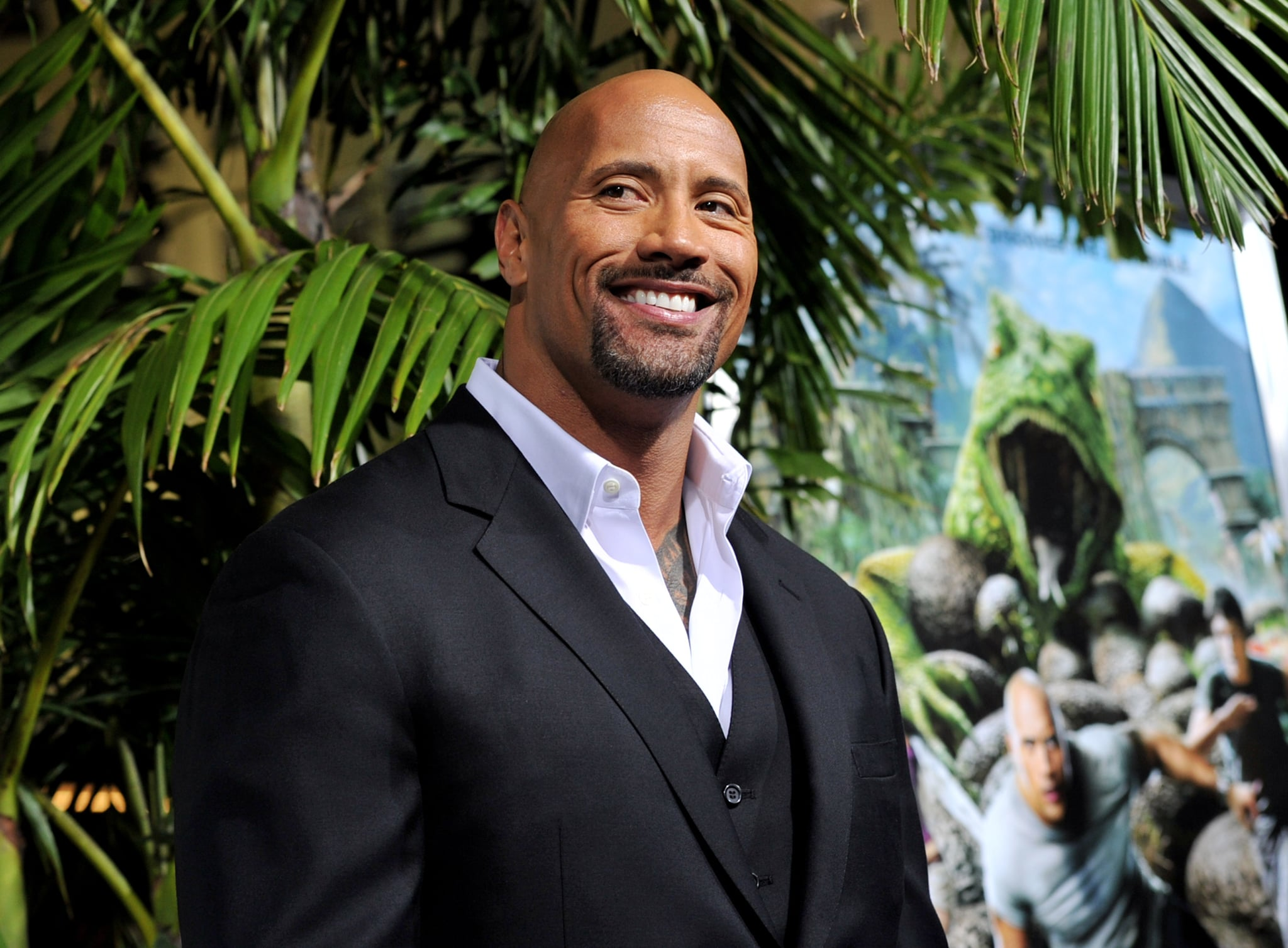 LOS ANGELES, CA - FEBRUARY 02:  Actor Dwayne Johnson arrives at the premiere of Warner Bros. Pictures'