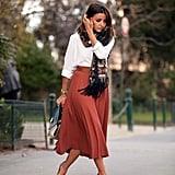 With a Button-Down and Midi Skirt
