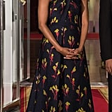For the Canada State Dinner in 2016, Michelle wore this gorgeous embroidered Jason Wu dress, equipped with a subtle slit to show off her metallic sandals.
