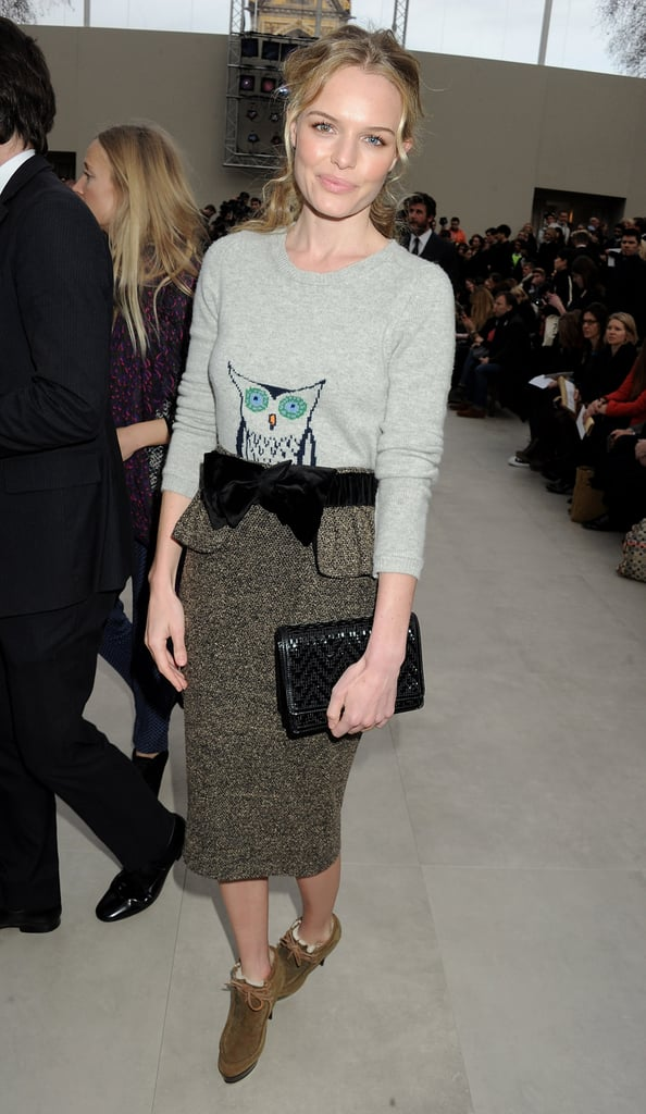 Kate Bosworth posed solo at Burberry, but boyfriend Michael Polish was also on hand.