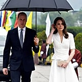 As the Cambridges left Bhutan for the last day of their tour, Kate was spotted wearing an intricate gold necklace that was a gift from the nation's Queen Jetsun.