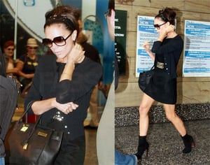 Victoria Beckham Arrives in Milan Wearing All Black and Black Hermes Birkin