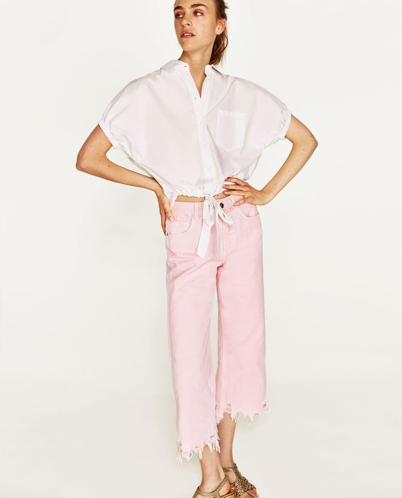 Zara Pink Frayed Jeans