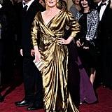 Meryl Streep shone in this metallic Lanvin gown.