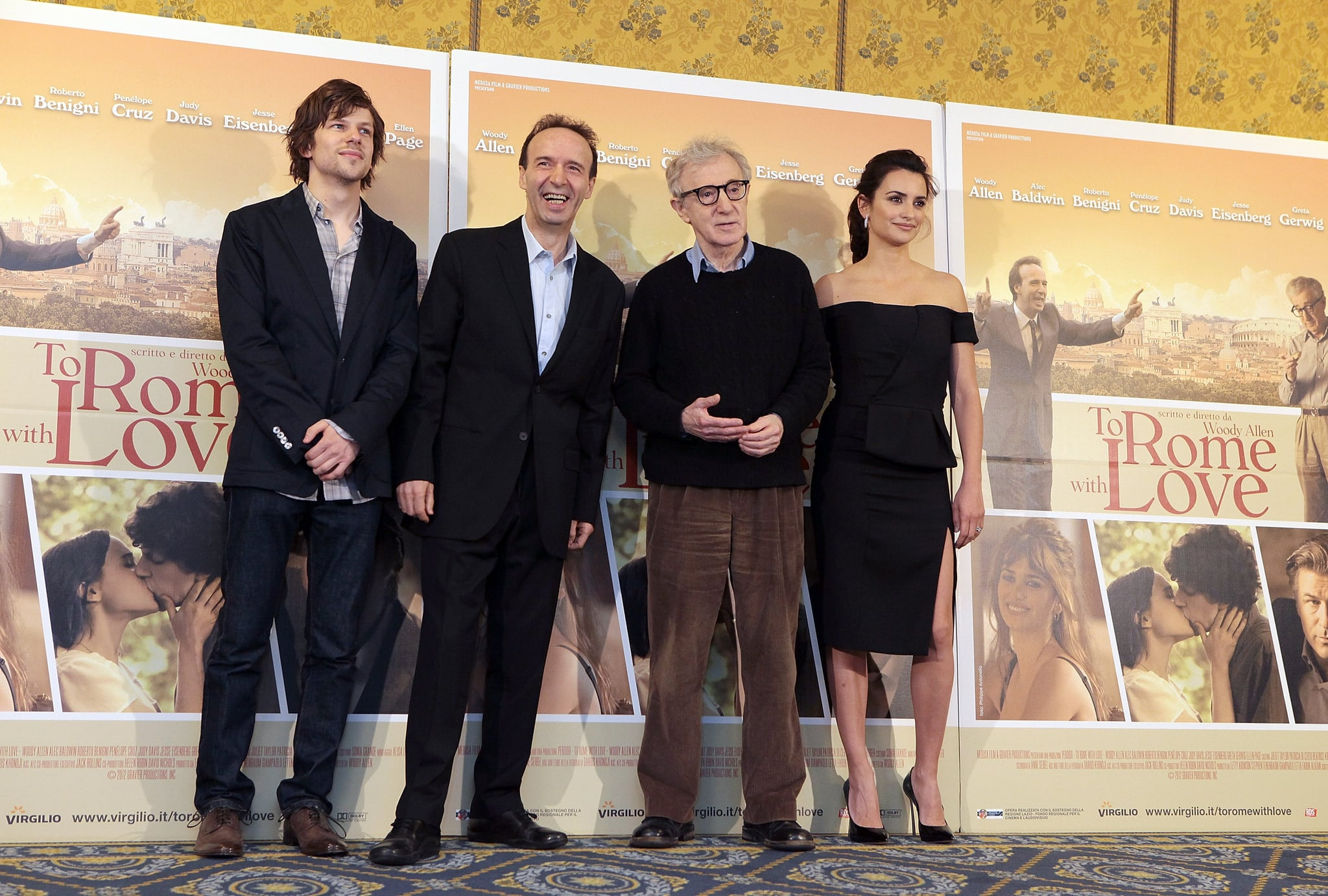 Penelope Cruz, Jesse Eisenberg, Wood Allen and Roberto Begnini looked great together at a press conference for To Rome With Love.