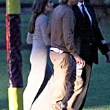 Angelina Jolie and Brad Pitt met up outside of London.