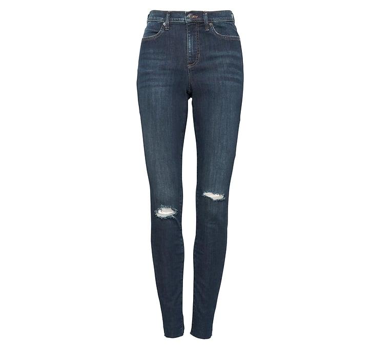 High-Rise Legging-Fit Medium Wash Ankle Jean with Fray Hem
