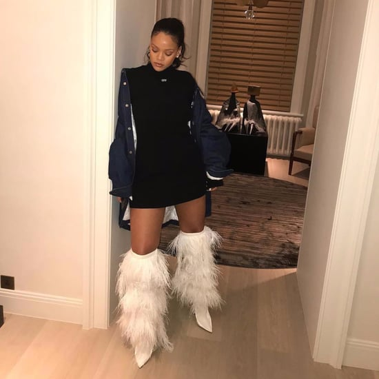 Rihanna Wearing Saint Laurent Yeti Boots