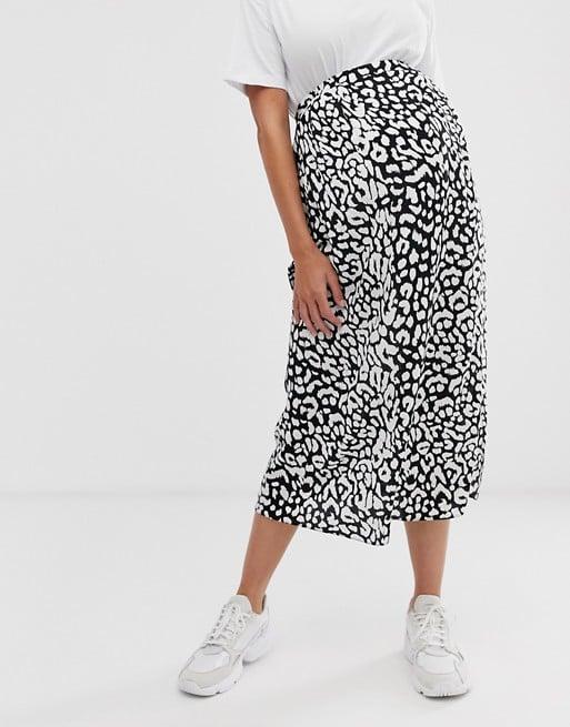 ASOS DESIGN Maternity mock wrap skirt in mono leopard | ASOS