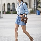 Double-Up Your Denim and Add Tan Heels