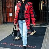 Hailey Baldwin Wearing an Animal Print Blazer Over a Hoodie With Polka-Dot Socks and Heels