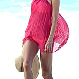 Alessandra Ambrosio posed in a pink cover-up in St. Barts.
