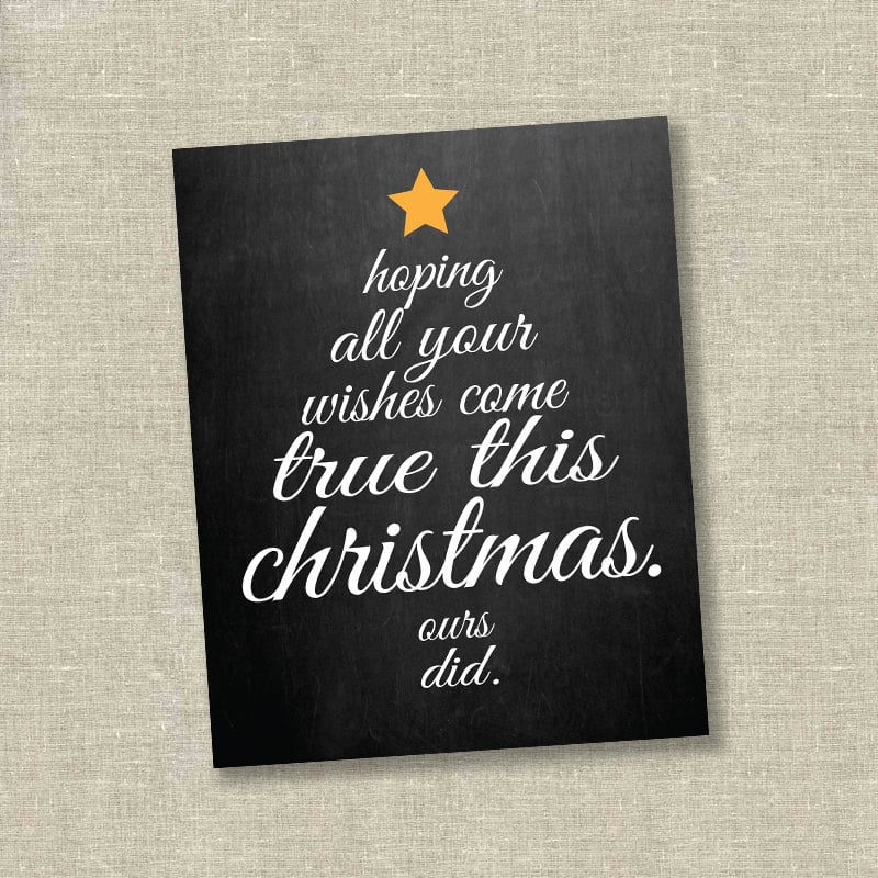 Chalkboard Christmas Tree Pregnancy Announcement Card