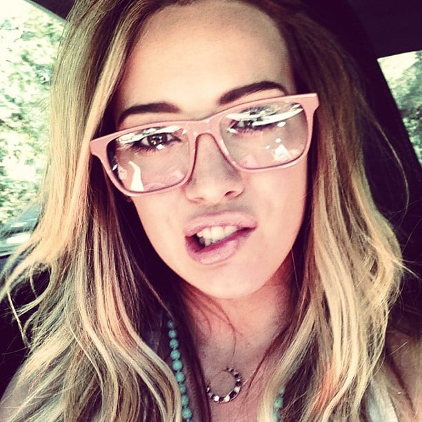Hilary Duff showed off a sweet new pair of pink-rimmed glasses. Source: Instagram user hilaryduff