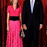 A Fuchsia Shirt Gown With a Tiered Skirt