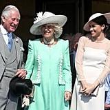 مايو: بعد أيام قليلة من زفافها، حضرت ميغان الحفل الرسميّ لعيد ميلاد الأمير تشارلز في قصر باكنغهام.