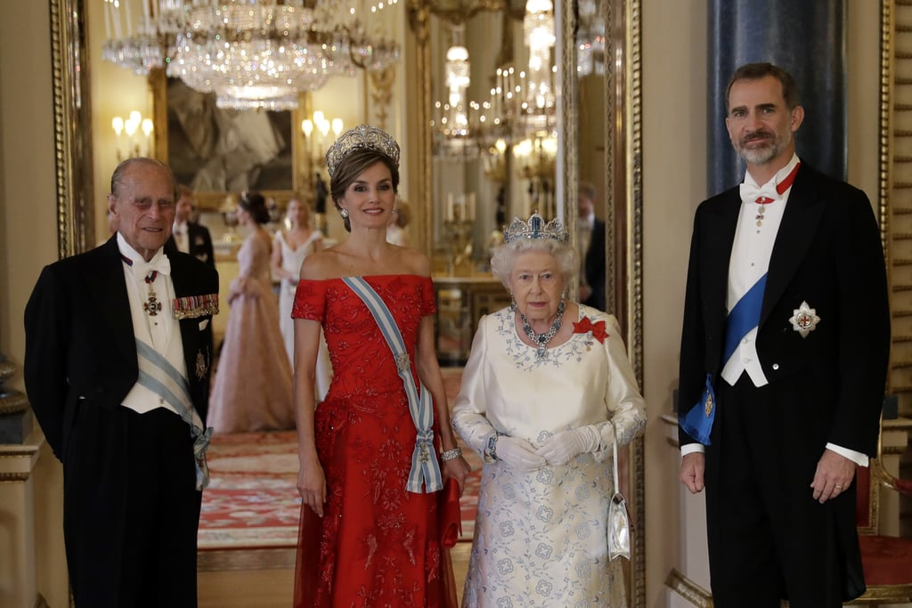 Philip and Elizabeth got all dressed up to attend a state banquet at Buckingham Palace with King Felipe VI and Queen Letizia of Spain in 2017.