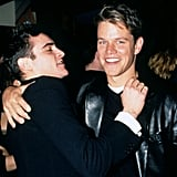 Joaquin Phoenix joked with Matt Damon at the Good Will Hunting NYC premiere in December 1997.