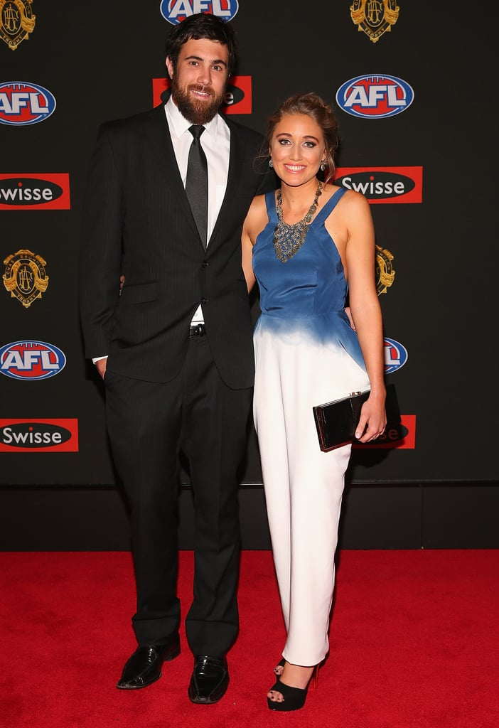 Josh Kennedy of the Eagles and partner Lauren Atkinson.