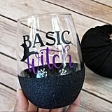 Halloween Basic Witch Glitter Wine Glass