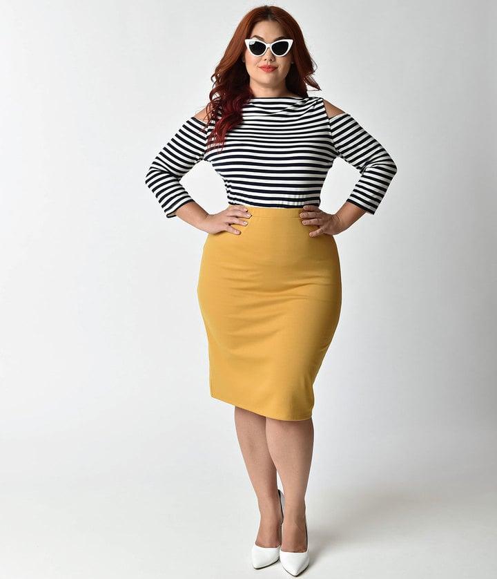 unique vintage plus size mustard pencil skirt mustard
