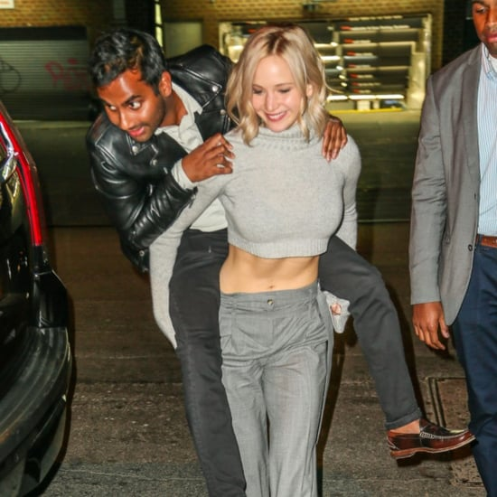 Jennifer Lawrence Gives Aziz Ansari a Piggyback Ride in NYC