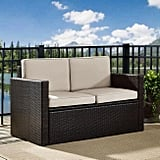 Espresso All Weather Pinamar Love Seat With Sand Cushions