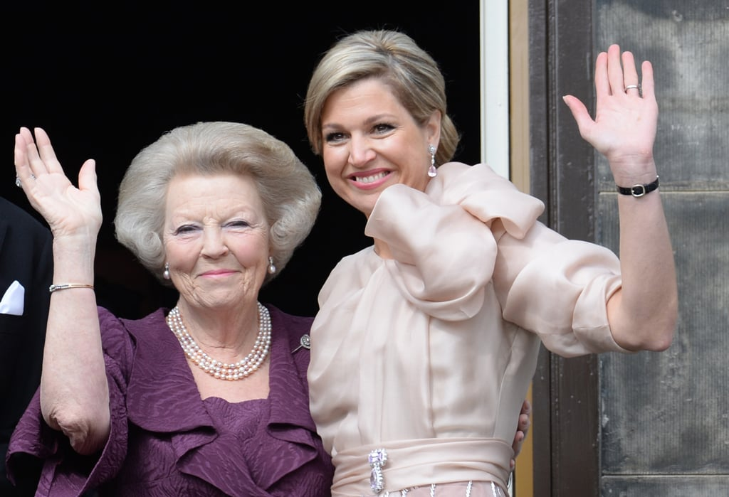 Queen Maxima waved with her mother-in-law, Princess Beatrix.