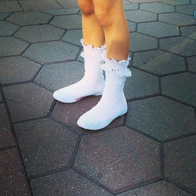 "Busy Philipps's daughter Birdie Silverstein took dressing in layers to a whole new level, wearing socks, shoes that were too big, and another pair of socks on top to ""keep them in place"". Source: Instagram user busyphilipps"